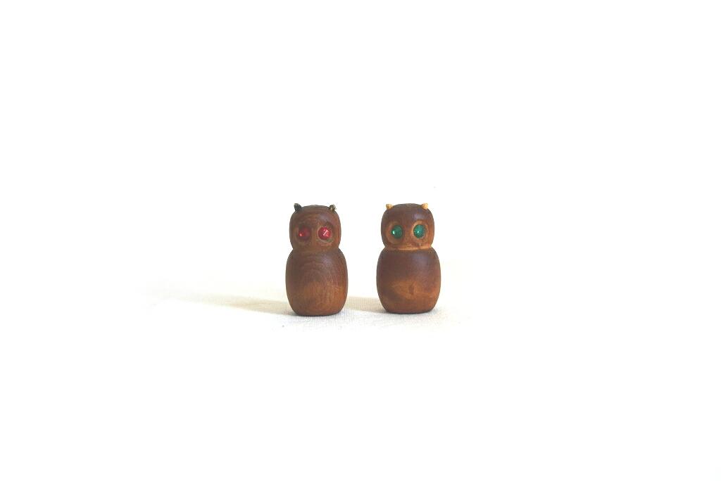 画像1: チークのフクロウの置物セット フィギュア  (1)