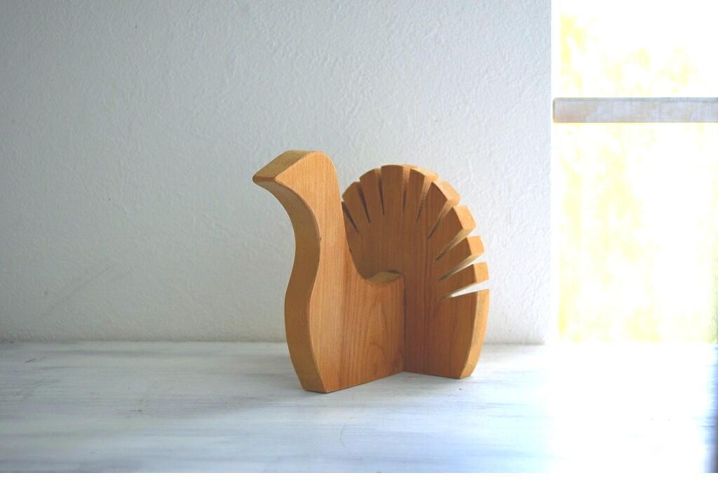 画像1: 木製の鳥の置物 (1)