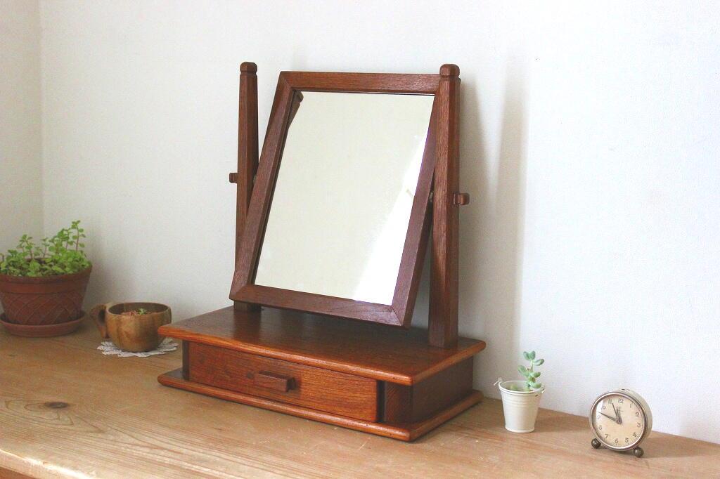 画像1: チークのテーブルミラー (1)
