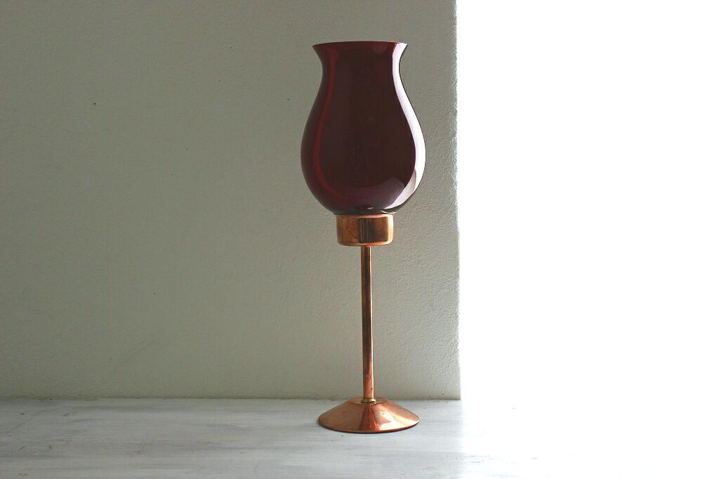 画像1: ガラスと銅のキャンドルスタンド (1)