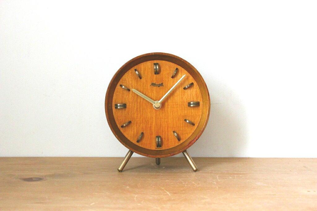 画像1: KIENZLE 木と真鍮の置き時計 (1)