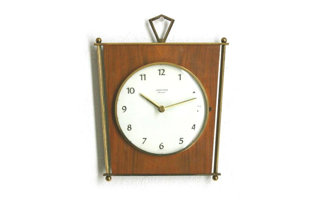 画像1: Junghans チークと真鍮の壁掛け時計 (1)